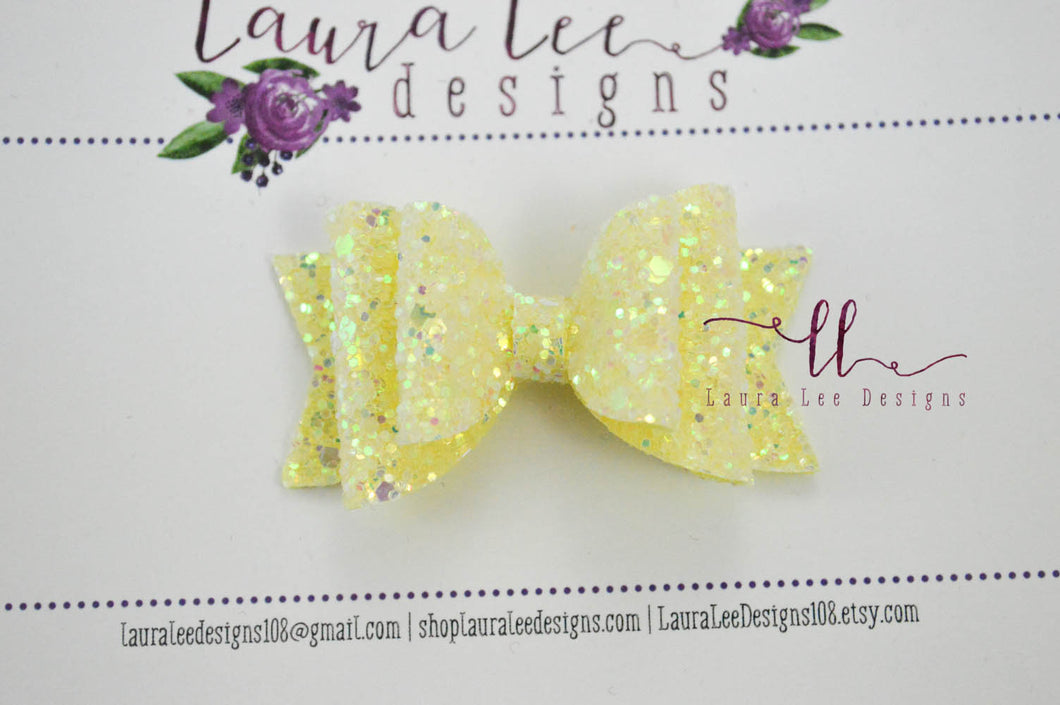 Mini Stacked Sabrina Style Bow || Pineapple Fizz Glitter