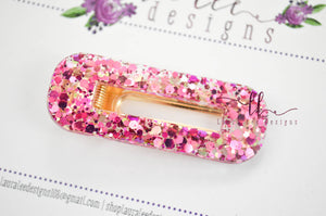 Elegant Alligator Clip || Palace Pink Glitter Oval Alligator Clip