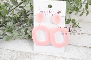 Resin Earrings || Pink