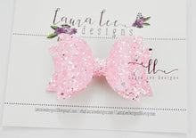 Medium Stacked Sabrina Style Bow || Bubblegum Pink Girly Glitter