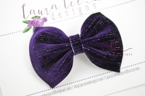 Bonnie Bow Style || Royal Purple Velvet with Metallic Stripes