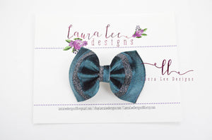 Bonnie Bow Style || Teal Velvet with Metallic Stripes