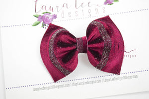 Bonnie Bow Style || Deep Red Velvet with Metallic Stripes