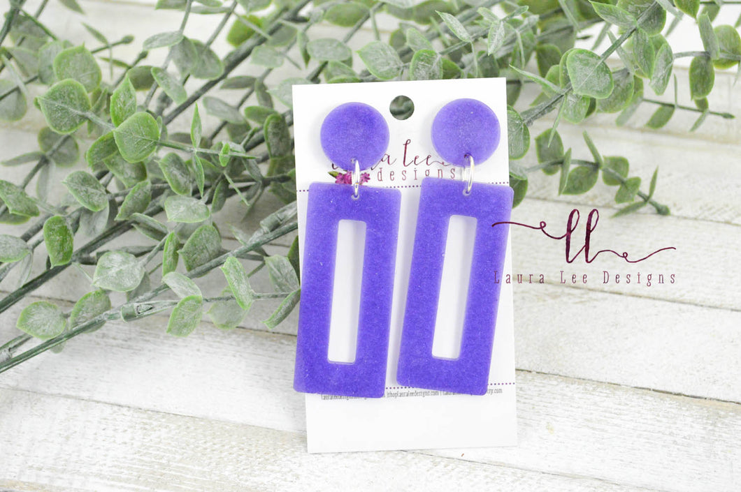 Resin Earrings || Purple Rectangle