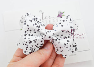 Scalloped Margo Style Bow || White Scattered Stars Vegan Leather