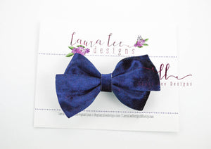 Nea Bow Style || Navy Blue Crushed Velvet