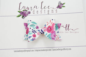 Mini Sabrina Style Bow || Purple Passion Floral Vegan Leather