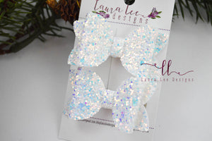 Pippy Style Pigtail Bow Set || Cold as Ice Glitter