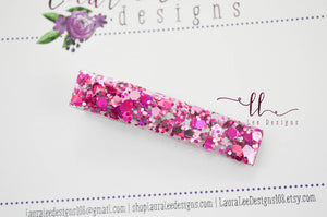 Elegant Alligator Clip || Shades of Pink Chunky Glitter Large Sugar Clip