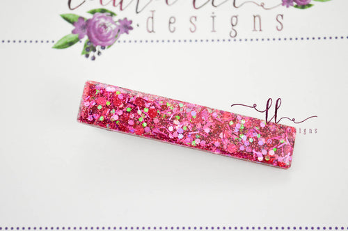 Elegant Alligator Clip || Hot Pink Confetti Glitter Large Sugar Clip