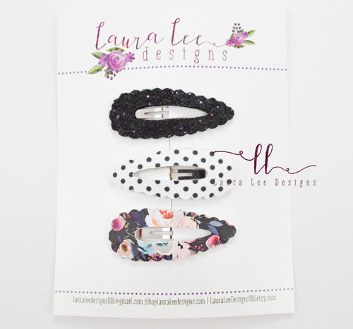 Scalloped Snap Clip || 3 Piece Snap Clip Set
