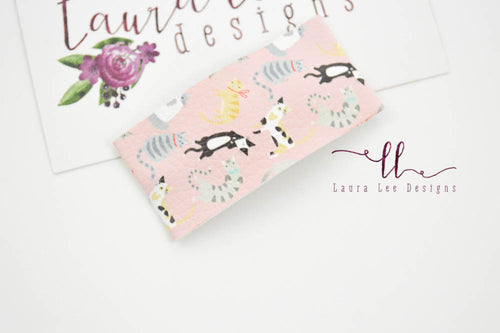 Rectangle Snap Clip || Kitties on Pink Vegan Leather