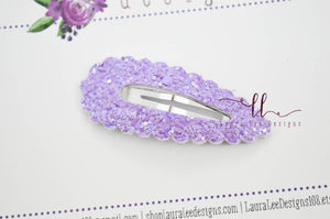 Scallop Snap Clip || Purple Glitter