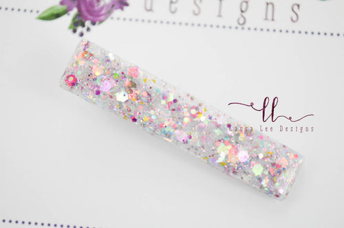 Elegant Alligator Clip || Rainbows Delight Glitter Large Sugar Clip
