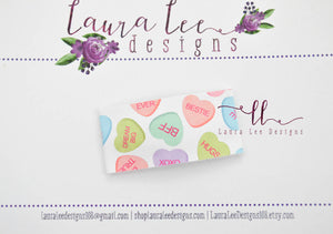 Rectangle Snap Clip || Conversation Hearts Vegan Leather