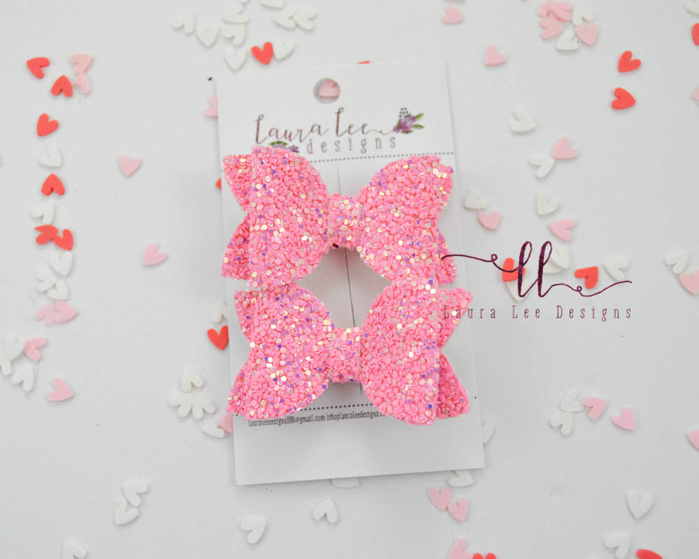 Pippy Style Pigtail Bow Set || Strawberry Delight Glitter Bows