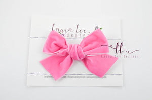 Large Timber Bows || Bubblegum Pink Velvet Timber Bow Style