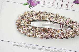 Large Scallop Snap Clip || Glitter