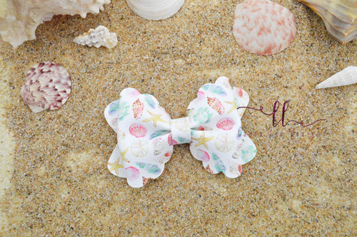 Scalloped Margo Style Bow || By The Shore Seashells Vegan Leather