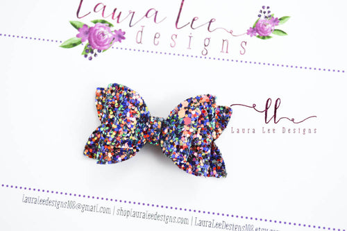 Stacked Pippy Style Bow || Blue Flame Glitter