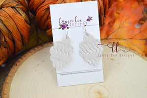 Small Lola Earrings || Cream Braided Vegan Leather