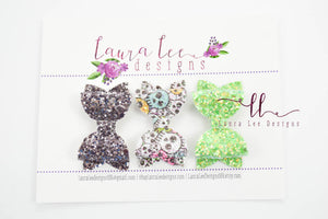Pippy Style Bow Set || Halloween Glitter Bows