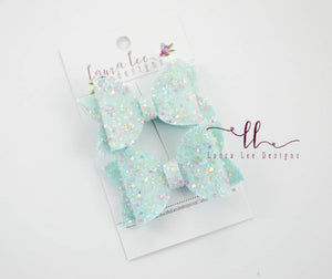 Pippy Style Pigtail Bow Set || Blue Sugar Rush Glitter
