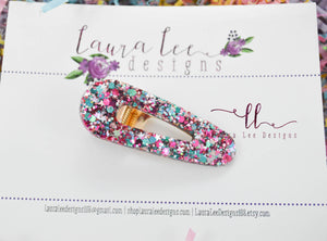 Elegant Alligator Clip || Pink and Teal Glitter Triangle Alligator Clip