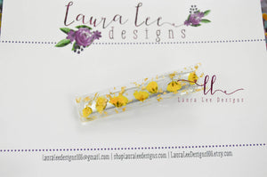 Elegant Alligator Clip || Dried Florals and Gold Flake Large Sugar Clip