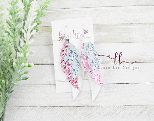 Feathers Layered Earrings || Glitter and Vegan Leather