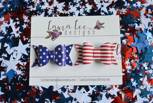 Emmy Bow Style || Bow Set || Stars and Stripes Faux Leather Bows || Choose Headband or Clip