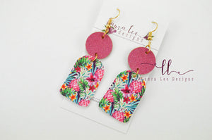 Earrings || Tropical Pineapples Vegan Leather