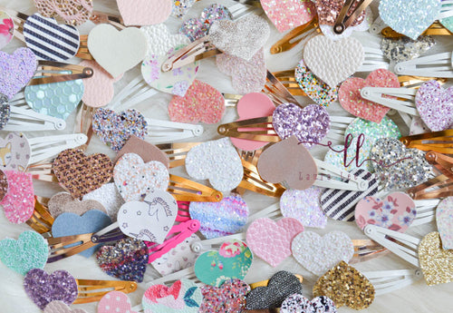 Snap Clip Grab Bag || Heart Snap Clips || Glitter or Faux Leather || Randomly Chosen Snap Clip