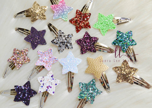 Stars Snap Clip Grab Bag || Chunky Stars Snap Clips || Glitter or Faux Leather || Randomly Chosen Snap Clip
