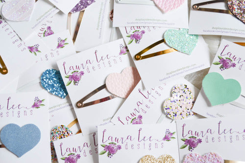 WHOLESALE || Heart Snap Clip Grab Bag || Hearts Snap Clips || Glitter or Faux Leather || Randomly Chosen Snap Clip