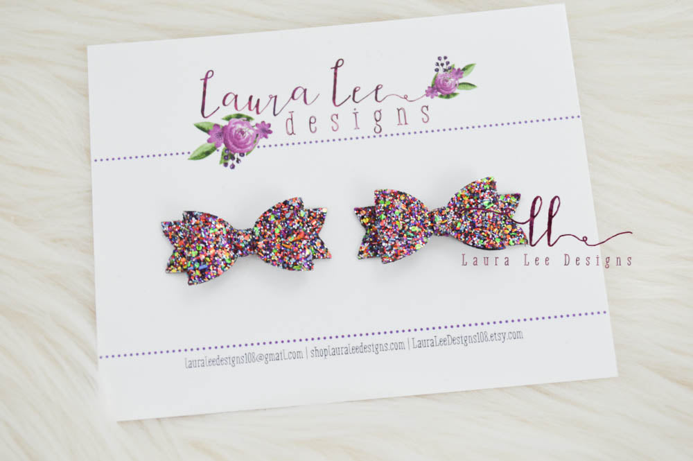 Pixie Style Pigtail Bow Set || Multi Colored Fiesta Confetti Glitter Bows