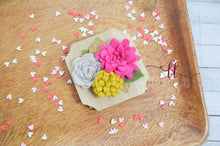 Felt Flower and Wood Magnet