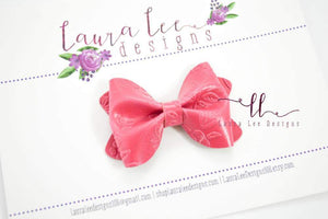 Mini Sasha Style Bow || Deep Pink Floral Embossed Vegan Leather