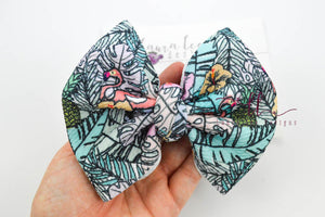 Large Julia Messy Bow Style Bow || I Spy a Flamingo
