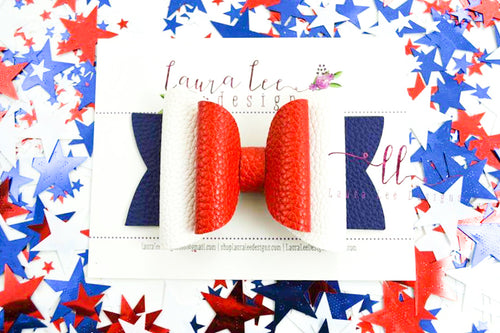 Stacked Rosie Style Bow || Red, White and Blue Solid Vegan Leather