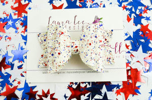 Stacked Rosie Style Bow || USA Glitter