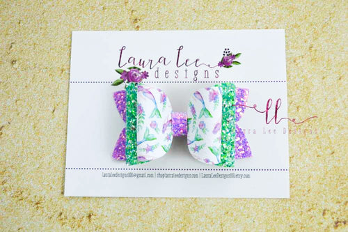 Stacked Izzy Style Bow || Watercolor Mermaids