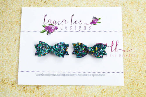 Pixie Style Pigtail Bow Set || Ocean Reef Glitter