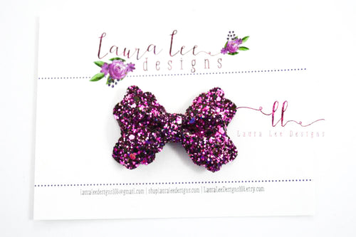 Mini Scalloped Margo Style Bow || Pink Galaxy Glitter