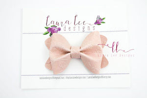 Sasha Style Bow || Blush Floral Embossed Vegan Leather