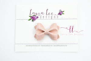 Mini Sasha Style Bow || Blush Floral Embossed Vegan Leather