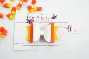 Medium Stacked Sabrina Style Bow || Candy Corn Smooth Vegan Leather
