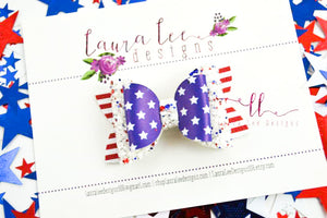 Stacked Winnie Style Bow || Stars And Stripes
