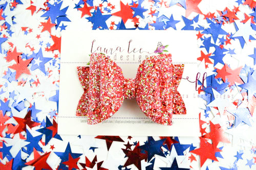 Stacked Rosie Style Bow || Red Sequin Glitter