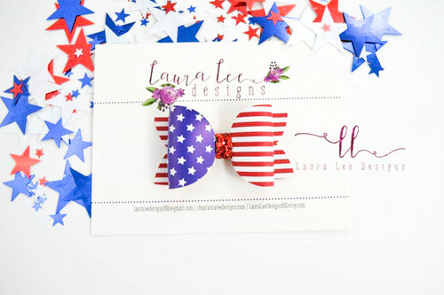 Winnie Style Bow || Flag Faux Leather Bow || Choose Nylon Headband or Clip